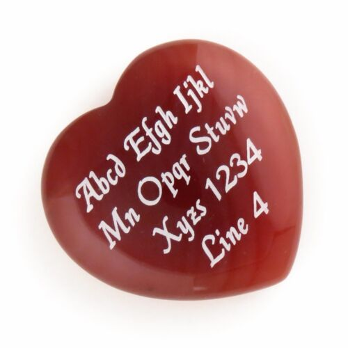 Custom Engraved ORANGE Agate Heart - LOVE STONES - 35 mm or 1.37 in Personalized