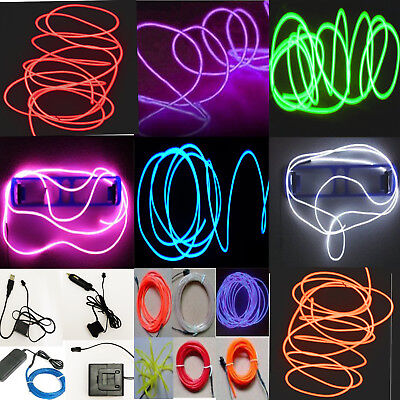 Neon LED Light Glow EL Wire String Strip Rope Tube Decor Car Party + Controller - Outside Party Decorations