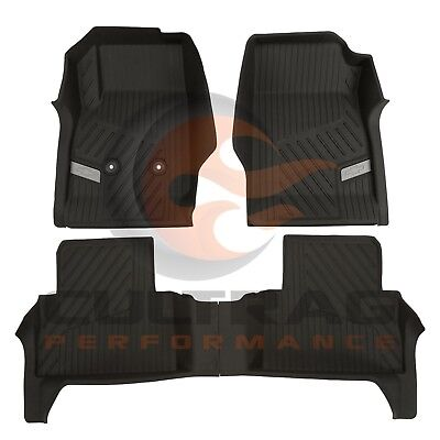 2015-2019 Colorado Crew Cab GM Front & Rear All Weather Floor Liners Black Cab Black Front Floor Liners