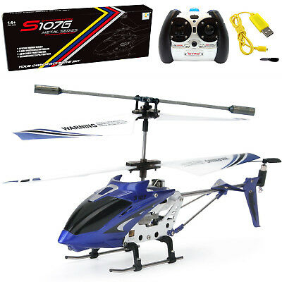 Cheerwing S107 S107G 3.5CH Modify Mini Remote Control RC Helicopter Gyro Blue