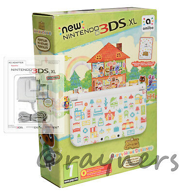 New   New Nintendo 3DS XL Console Happy Home Designer Game + AC Mains Bundle