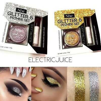 2 Pieces Gold And Silver Glitter With Primer Set Kit Eyes Lips Nails Halloween