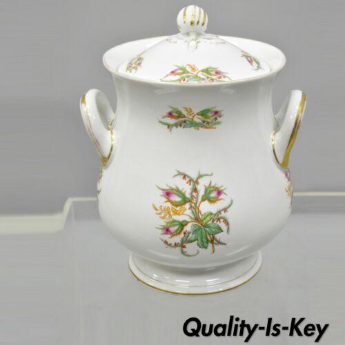 """Antique 14"""" Porcelain Lidded Double Handle Floral Chamber Pot Bowl Cachepot"""