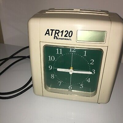 Vintage Acroprint Atr120 Analog Time Card Punch Clock Recorder Wall Mountable
