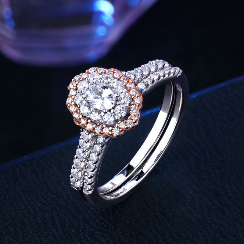 Newshe Wedding Engagement Ring Set For Women Oval Rose Gold Sterling Silver Cz