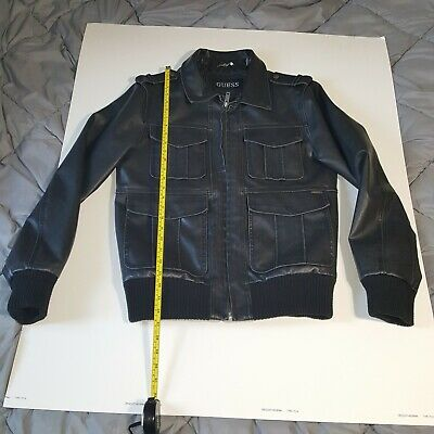 Guess Motorcycle Pebbled Vegan Black Leather Jacket Mens Size S fits M.  Heavy
