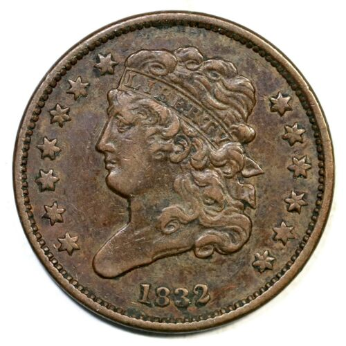 1832 C-1 R-2 Classic Head Half Cent Coin 1/2c