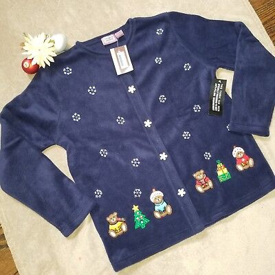 (NWT Premier International Navy Fleece Teddy Bear Christmas Sweater Size Medium)