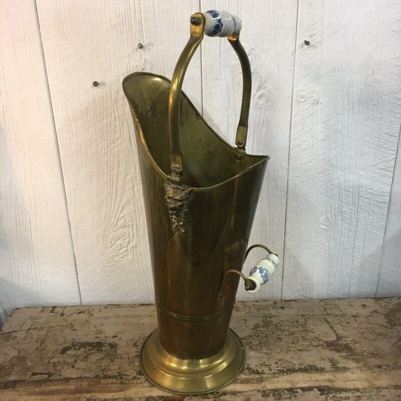 Vintage Copper Brass Coal Scuttle Bucket Delft Handles Lion Head Umbrella Stand