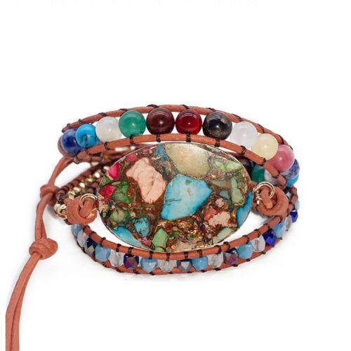 Chakra Colorful Copper Imperial Jasper Gemstone Leather Wrap Boho Women Bracelet