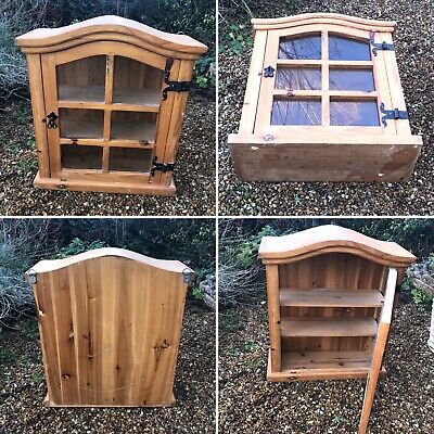 Rustic Vintage Glass Fronted Pine Wooden Wall Cupboard Display Cabinet Homemade