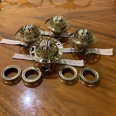 4 OF QUALITIES BRASS DUPLEX OIL LAMP BURNERS IN EXCELLENT CONDITION