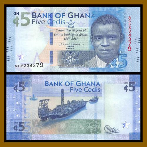 Ghana 5 Cedis, 2017 P-New Commemorative 60 Years C.B.G Ship Coffee Bean Unc