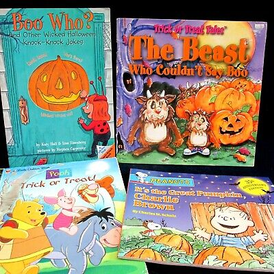 Halloween Book Lot 4 Pooh Trick or Treat Charlie Brown Boo Who Joke The