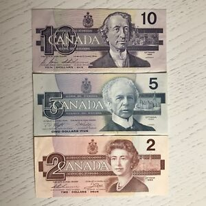 1980s Canadian Paper Currency - circulated
