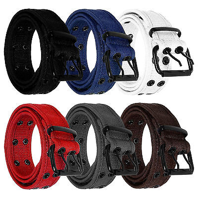 Men Women Unisex 2 Holes Row Grommet Stitched Canvas Fabric Military Web Belt
