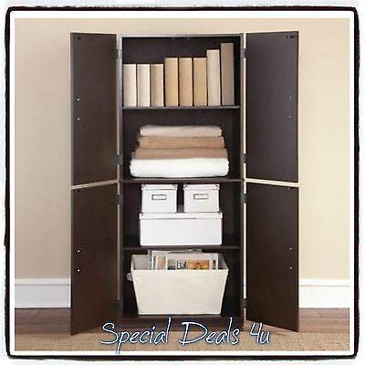 خزانة جديد Tall Storage Cabinet Kitchen Cupboard Pantry Food Organizer Storage Shelf Wood