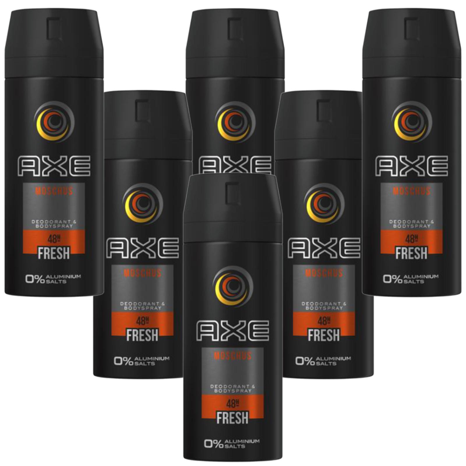 Deo Axe Moschus 6 x 150ml Deospray Deodorant Bodyspray ohne Aluminium Herren