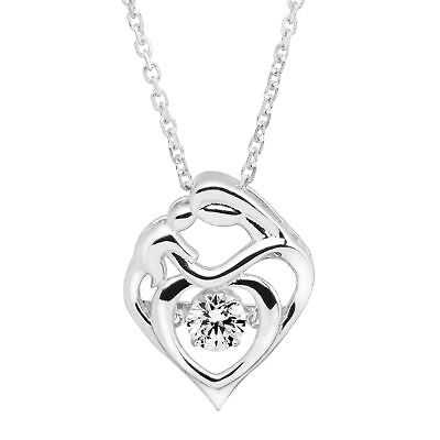 Crystaluxe Mother & Child Pendant with Swarovski Crystal in Sterling Silver