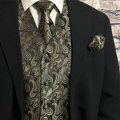 Gold Vest (Gold / Black Men Paisley Tuxedo Suit Dress Vest Waistcoat & Neck tie Hanky)
