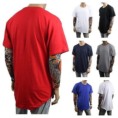 Men T-Shirt BIG AND TALL Long Extended Casual Tee Basic Crew Neck Hipster S-5XL