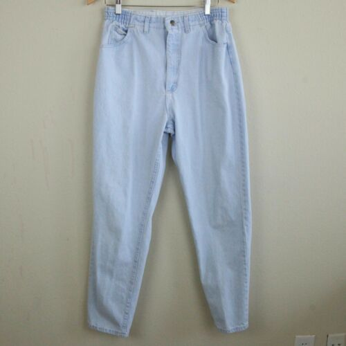 "Vintage Lee High Rise Mom Jeans Tapered Leg Light Wash 12 30"" - 32"" Elastic 90s"