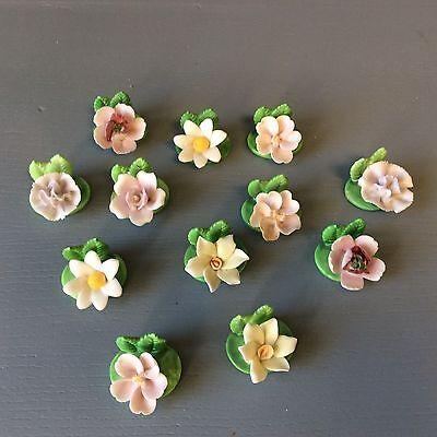 Set of 12 Vintage Porcelain Flower Name Tag Place Card Holders Formal Dining