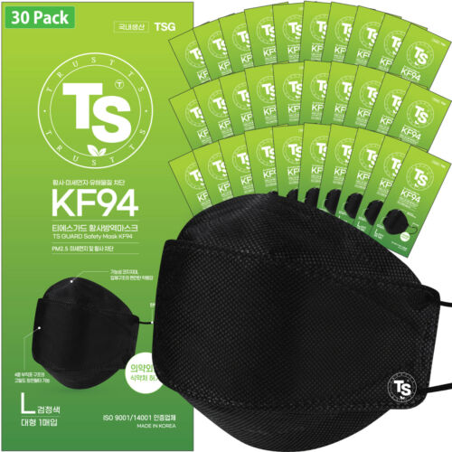 【 30 Pack 】 BLACK KF94 Face Mask, TS Guard Safety Mask, Made in Korea