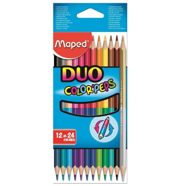 Maped Duo Colouring Pencils Double Sized Ended Pencil Crayons Stationery Art Fun