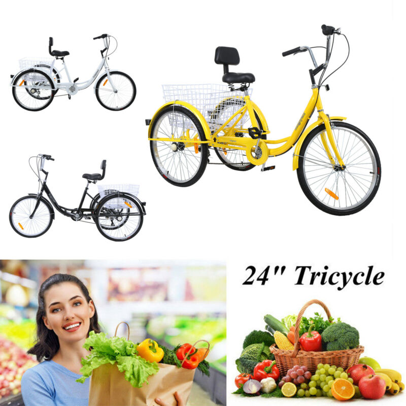 "24"" 3-Wheel Shimano 7-Speed Tricycle Trike Bicycle Bike Crui"