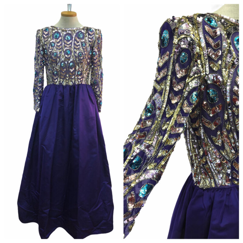 Vintage VTG 70s 80s Purple Silky Multicolored Beaded Long Sleeve Gown Maxi Dress