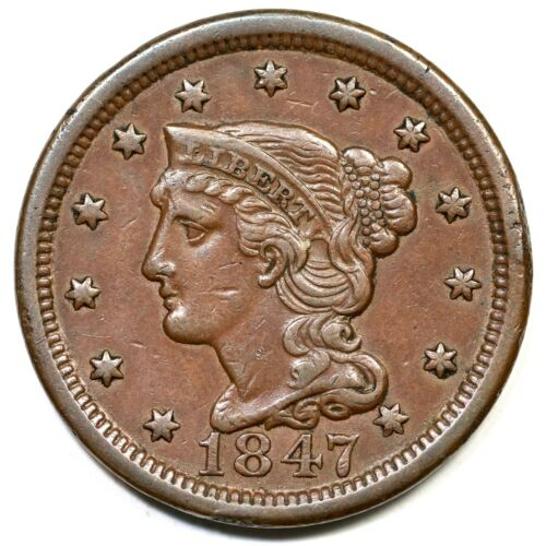 1847 N-41(b) R-4- Draped Bust Large Cent Coin 1c
