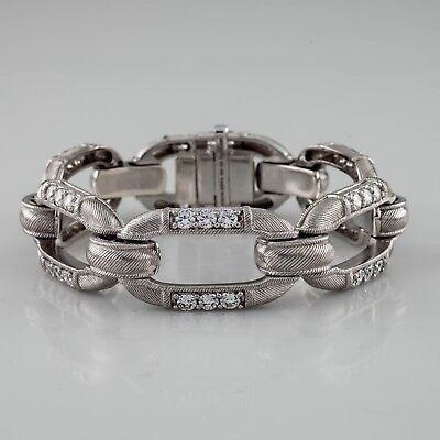 "Judith Ripka Sterling Silver CZ Diamonique Cable Link Bracelet 7"""