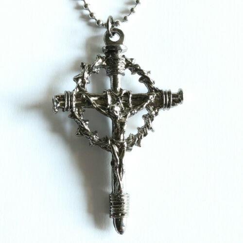 "Men Necklace Cross Crucifix Pendant Thorns Handmade Catholic Stainless Chain 20"""
