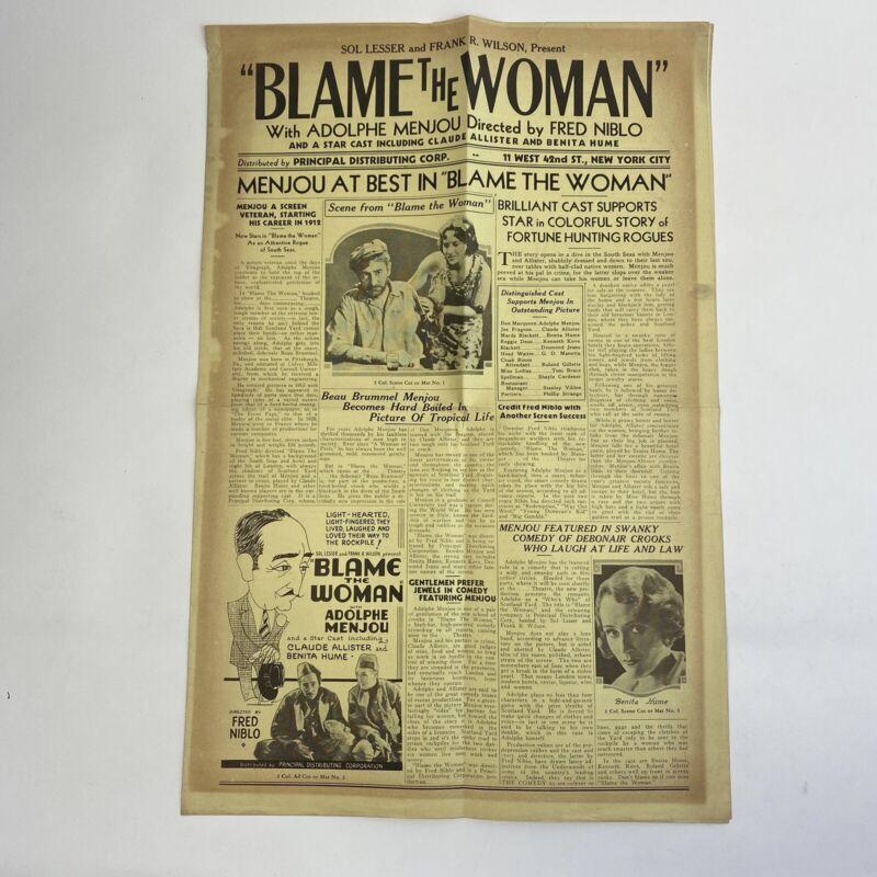Vintage Movie Pressbook Blame The Woman 1932 Pre Code Adolphe Menjou Benita Hume