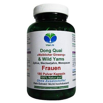 Dong Quai und Wild Yams 180 Pulver Kapseln Ohne Zusatzstoffe Natur pur. 26407