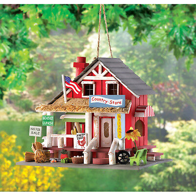 BIRDHOUSE: Charming General COUNTRY STORE Bird House with Clean Out Hole NEW