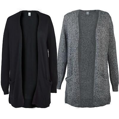 ex Gap Womens Cotton Blend Knit Long Tall Pocket Cardigan Black or Grey Marl