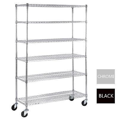 6 Tier Adjustable Wire Shelving Rack 82x48x18 Heavy Duty Layer Steel Shelf