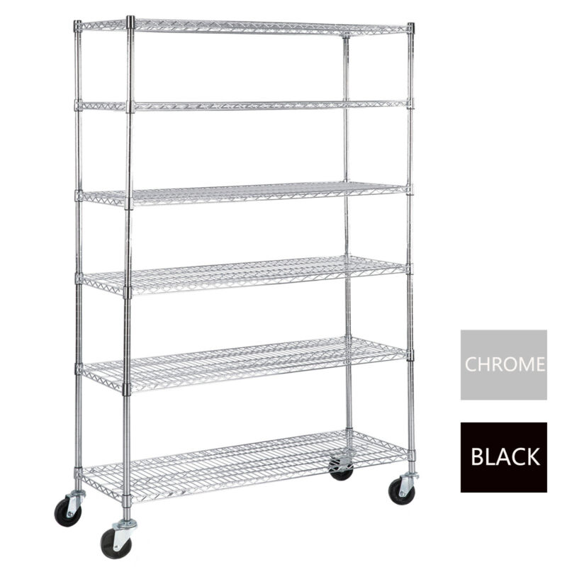"6 Tier Adjustable Wire Shelving Rack 82""x48""x18"" Heavy Duty Layer Steel Shelf"