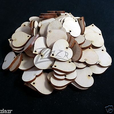 """100 1-1/4""""x1/8"""" Wooden HEARTS Craft Shape 2-hole Natural Wood Family Date Board"""