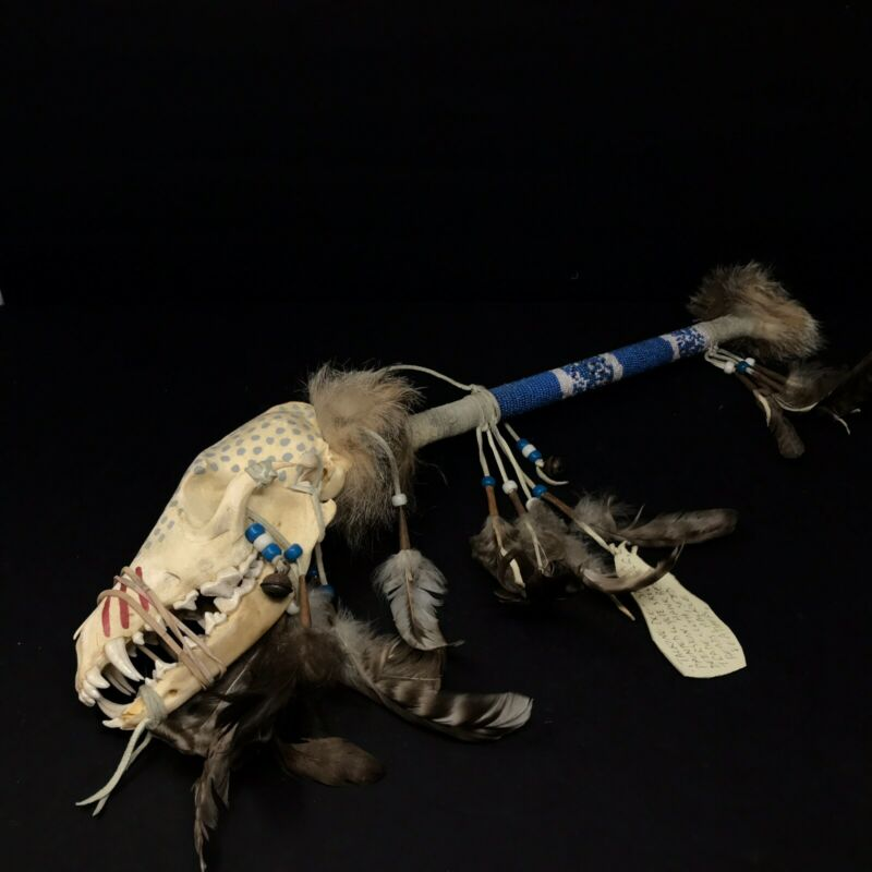 Native American Indian antique artifact ceremonial spirit stick Coyote Skull art