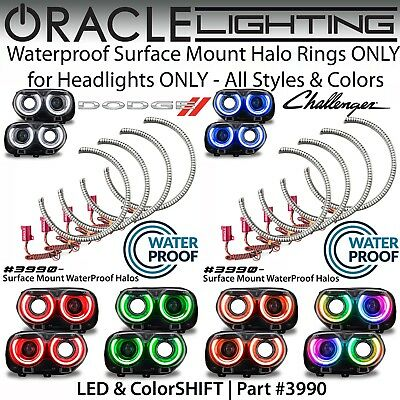 ORACLE Surface Mount Halos for Headlights for 15 19 Dodge Challenger All Colors