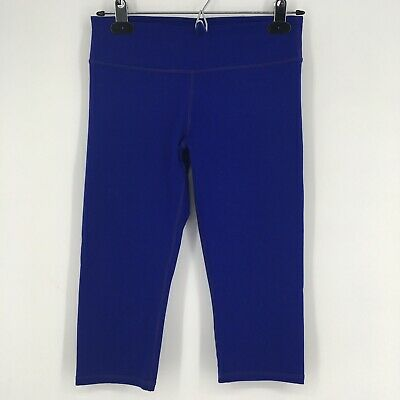 Fabletics Womens Pants Solid Blue Knee Length Cropped Workout Leggings Size XS