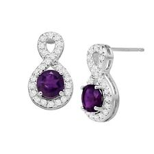 Natural Amethyst & White Topaz Infinity Drop Earrings in Sterling Silver