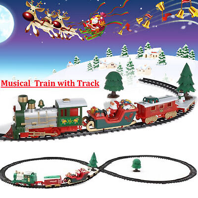 Christmas Musical Light Train Trees Set Carriage Kid Gift Toy Ornament Decor