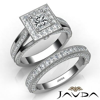 2.2ctw Milgrain Halo Bridal Set Princess Diamond Engagement Ring GIA F-IF w Gold