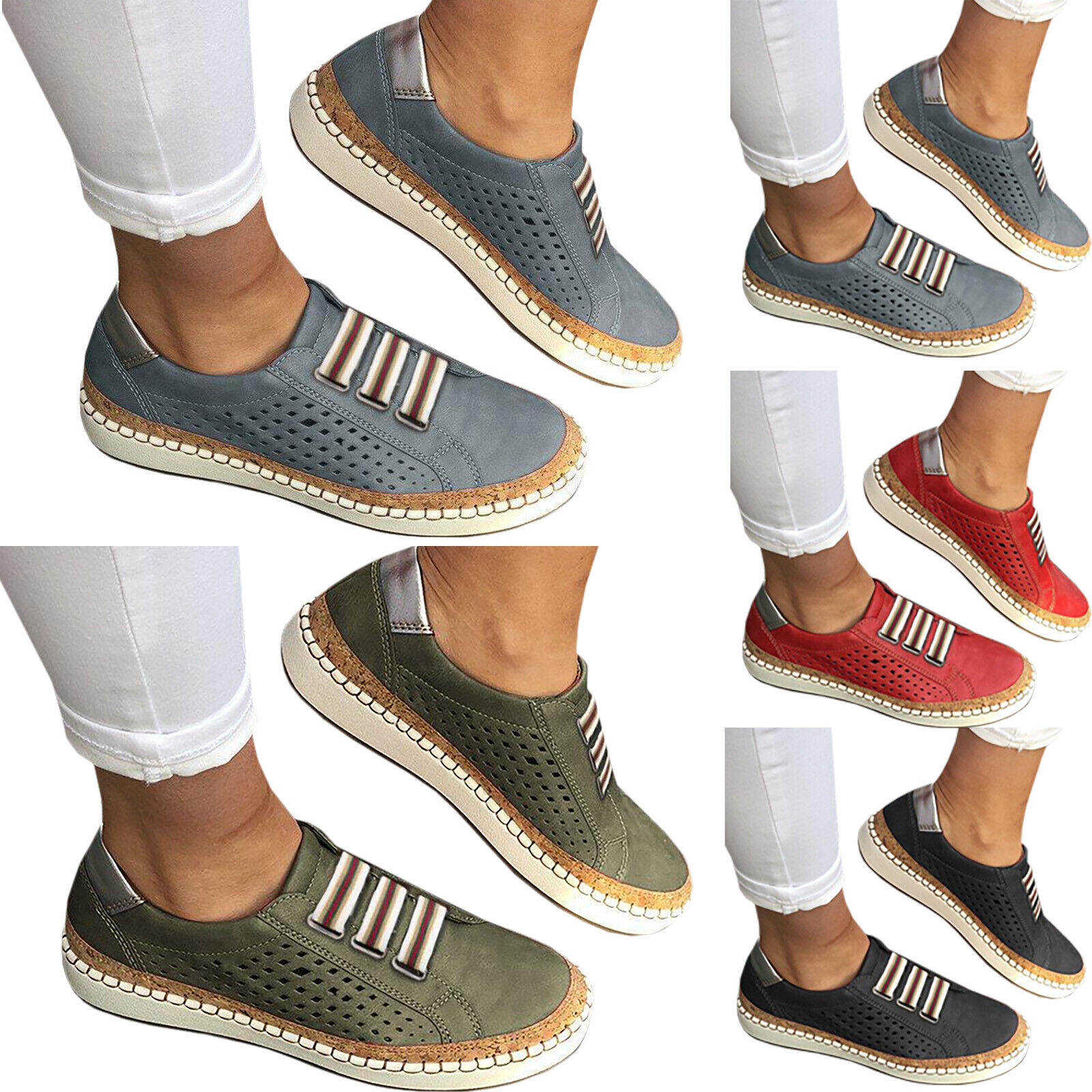 Women Slide Hollow-Out Flats Round Toe Leisure Breathable Casual Sneakers Shoes 1