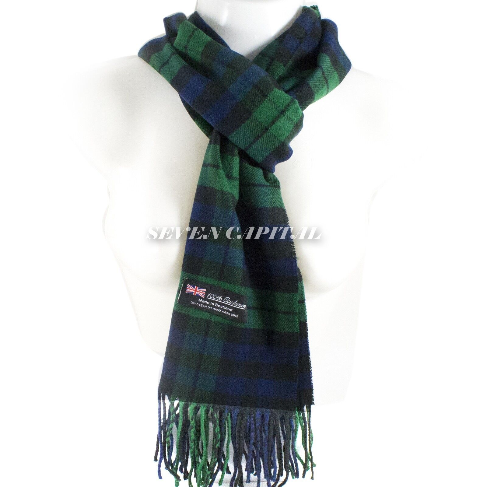 Mens Womens Winter Warm SCOTLAND Made 100% CASHMERE Scarf Scarves Plaid Wool 14. Plaid: Royal Blue/Forest Green