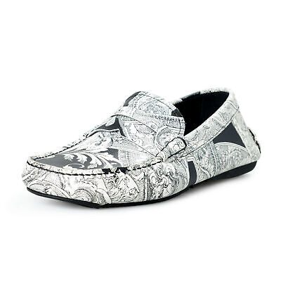 Versace Men's Multi-Color Textured Leather Loafers Slip On Shoes US 7 IT 40